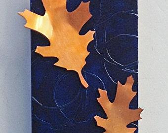 Oak Leaves copper art 4x8 in