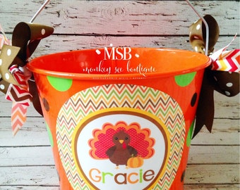 Custom Thanksgiving Bucket with a turkey and pumpkin on a chevron background