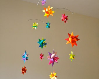 30% off! Baby Crib Mobile Origami Paper Stars -'Pyxis' Rainbow