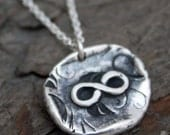 SALE Fine Silver Wax Seal Infinity Necklace
