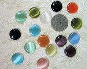 10 cute 12mm round cats eye glass cabochons,  mixed color cabs