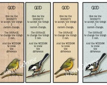 Printable Bookmarks, Serenity Prayer, Artwork of Birds, Wildlife, Christian Prayer, INSTANT Download