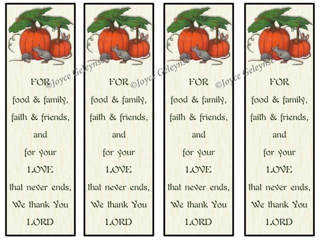 Printable Bookmarks Thanksgiving Christian Prayer Of Thanks