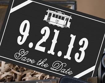 Elegant Streetcar Postcard Save the Date (White Ink) - Design Fee