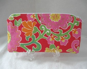 Bright Floral Zipper Pouch - Flowers Zip Case - Floral Cash Holder - Coupon Holder