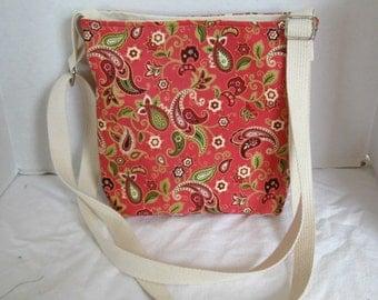 Coral Paisley Hipster - Cross Body Purse Paisley - Padded Hip Bag -Paisley  Sling Bag - Long Adjustable Strap