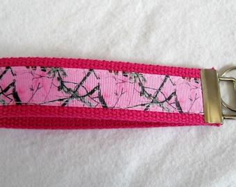 Pink Camo Key Fob - Woodland Key Chain - Wristlet Keychain - PINK Camouflage