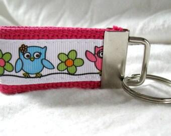 Owl Mini Key Fob - Owls on Branch - PINK  Key Chain - Owl Zipper Pull