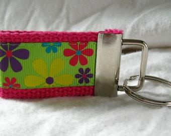 Floral Mini Key Fob Groovy Small Key Chain Pink Bold Flowers