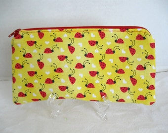 Ladybug Zipper Pouch - Padded Gadget Case -Ladybugs Zip Pouch - Yellow Red School Supply Case