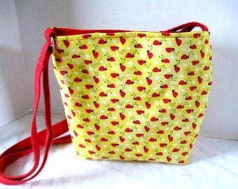 Ladybug Cross Body Purse - Yellow Hip Bag - Lady Bug Hipster - Long Adjustable Strap Sling Tote