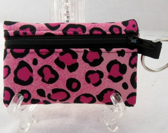 Pink Cheetah Coin Purse - Animal Print Change Purse - Small Zippered Pouch - Ear Bud Case