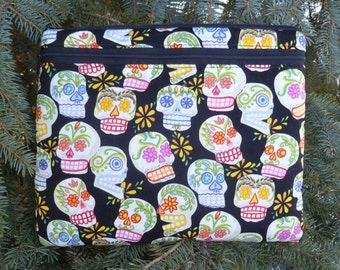 Day of the Dead case for iPad2,iPad3 small tablets netbooks, optional shoulder strap or wristlet, sugar skulls  Boda Deluxe