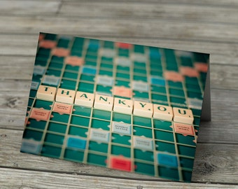 Thank You in Scrabble Tiles - card, notecard, photo, stationery, note, photograph, still life, blank inside.