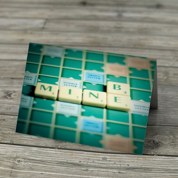 Scrabble Tiles Words Notecard -  Be Mine in Scrabble Letters on classic board.  Romantic Valentine Love Greetings Card