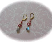Labradolite and Ruby Dangling EARRINGS