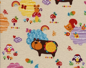 Alice Kennedy, Momo, Woodland Animals Cream OOP Fabric - Half Yard