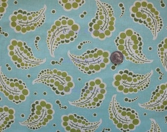 Heather Bailey, Freshcut, Dotted Paisley Turquoise Floral Fabric - Half Yard