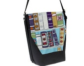 Convertible Backpack - Sling Purse - Shoulder Bag - iPad Purse - REMOVABLE FLAP - Book It Fabric