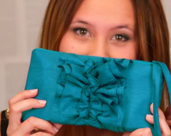 Ruffle Teal Clutch - Fairy Tale Wristlet - Bridesmaids Clutch