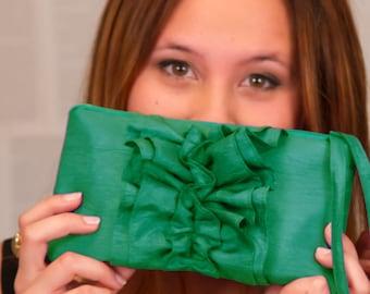 Ruffled Jade Green Clutch Wristlet- Jade Green Bridesmaid Purse