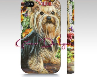 Yorkshire Terrier Yorkie Pansies Portrait iPhone cover case 4 4s 5 5s 6s Samsung Galaxy S3 s4