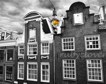 AMSTERDAM at Dusk, NETHERLANDS, Urban Photography, Europe Photo, Black and White, Golden Lantern, European Decor, Dutch Buildings