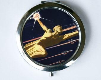 Soviet Astronaut Compact MIRROR Pocket Mirror CCCP USSR