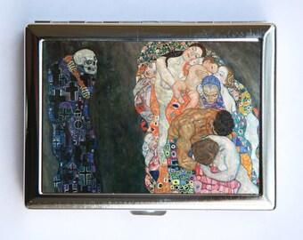 Klimt Life Death Cigarette Case Wallet Business Card Holder Art Nouveau