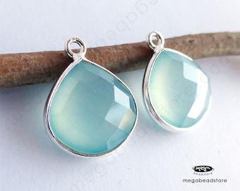 2 pcs 16mm Heart Shape Drops Aqua Chalcedony Pear Shape Pendant Sterling Silver Bezel F417S