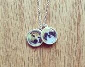 CUSTOM pet portrait pendant  resin photo pendant  sterling silver necklace