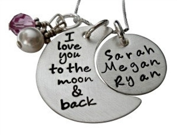 I Love You to the Moon and Back Necklace - Personalized Hand Stamped Jewelry