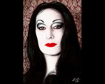 "Print 11x17"" - Morticia Addams - The Addams Family Anjelica Huston Wednesday Gomez Dark Art Horror Comedy Gothic Pop Art Lowbrow Art 90s"