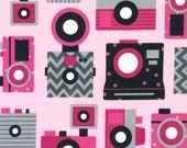Robert Kaufman THIS AND THAT Cameras Sweet cotton fabric by the 1/2 yard