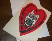 Sweet Love Owl on Heart Twigs  5x7 Greeting Card Blank inside by Agorables Romantic love
