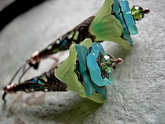 Lime & Aqua Earrings . Fairy Flower Earrings . Long Filigree Wands, Faery Couture, Elksong Jewelry