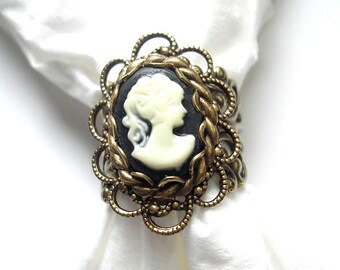 Classic Cameo Victorian Style Ring - Ivory and Black on Layered Antiqued Brass