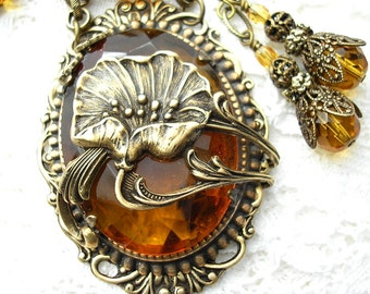 Golden Poppy Topaz Vintage Glass Jewel Necklace and Earring Set - California Dreamin'