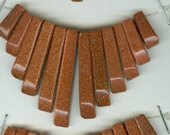 Brown Goldstone Mini Cleopatra Collar Fan Graduated 13pc Bead Set