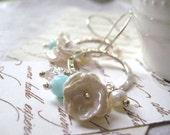 RESERVED Hoop Charm Earrings, Keishi Pearls, Charm Earrings, White Pearl, Ruffled Pearls, Tiny Pearl, Blue Peruvian Opal, Something Blue