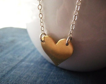 heart necklace, mixed metals, sterling silver, pure brass, Valentines Day, brushed brass, candies64, womens jewelry