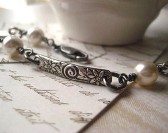 pattern bracelet sterling silver handmade floral bars  Swarovski elements glass pearls oxidized sterling candies64 womens jewelry