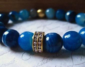 Blue Agate Bracelet, Semi Precious, Sea Blue gems, Rhinestone Bead, Stretch Bracelet, Blue Agate, candie64