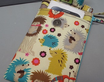 Womens Wristlet Wallet or Small Bag with Smart Phone Pocket Hedgehogs Fabric