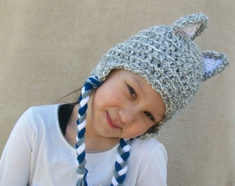 Big Bad Wolf Crochet Hat, Cloud Grey Animal Hat for Children and Playful Grown-ups - Silver Grey Forest Animal