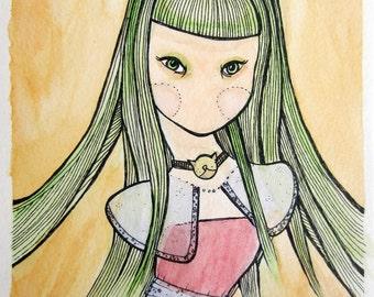 Cat Choker Speechless Girl - Original watercolor 6 x 8
