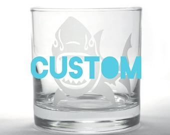 CUSTOM Lowball Whiskey Glass - Choose your etched design