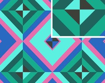 20% Off! Amy Butler FABRIC - Hapi - Sky Pyramid - Cobalt - Linen Blend