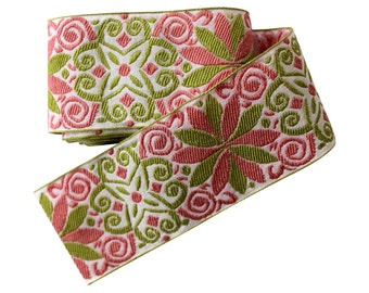 Pink & Green Star Ribbon, 1.8 Yds - Wide Trim