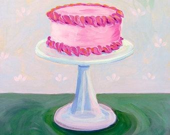 PRINT - Pink Cake on Crystal Cake Stand